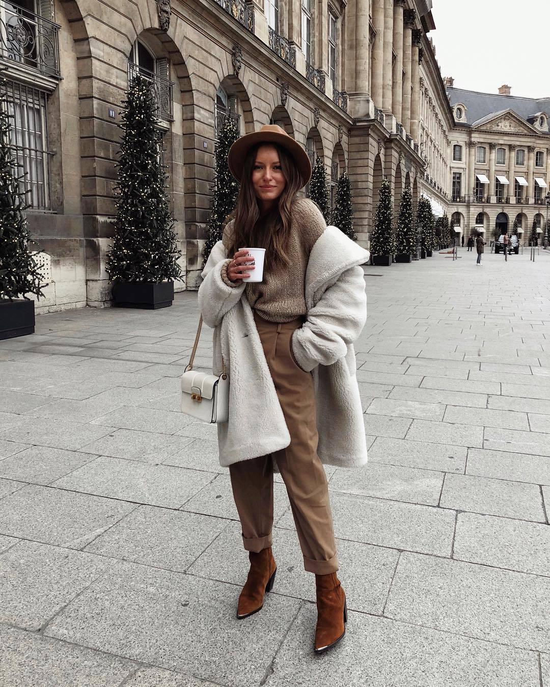 pants high waisted brown boots oversized coat knitted sweater white bag cowboy boots felt hat