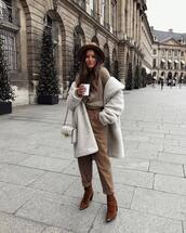 pants,high waisted,brown boots,oversized coat,knitted sweater,white bag,cowboy boots,felt hat