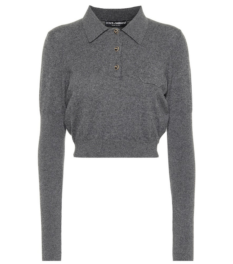 Dolce & Gabbana Cropped cashmere top in grey