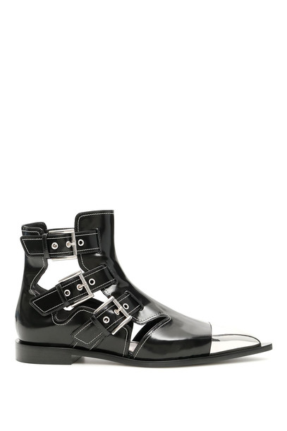 Alexander McQueen Cage Boots in black / ivory / silver