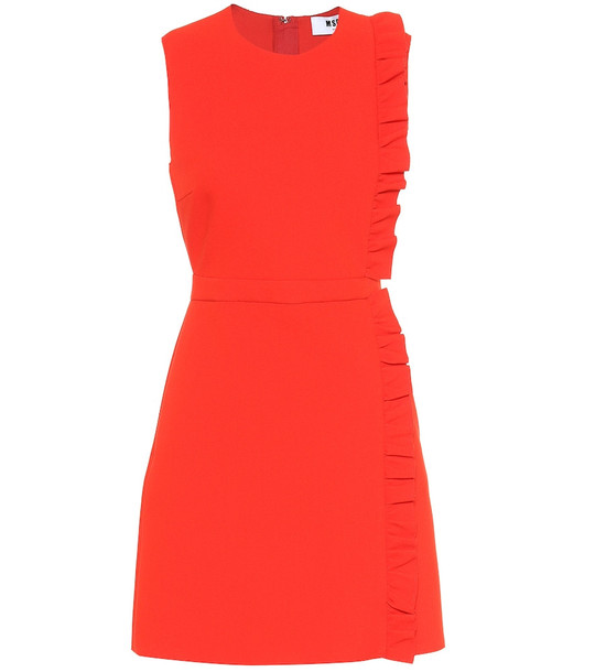 MSGM Ruffled crêpe minidress in red
