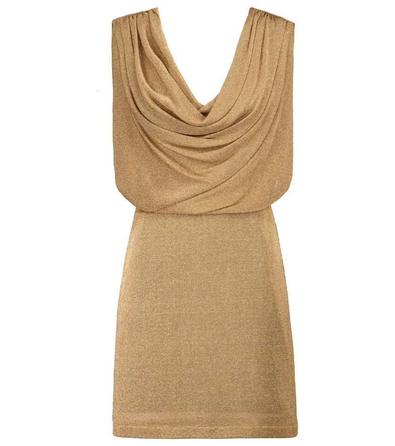 Fendi Cowl-neck metallic minidress in gold