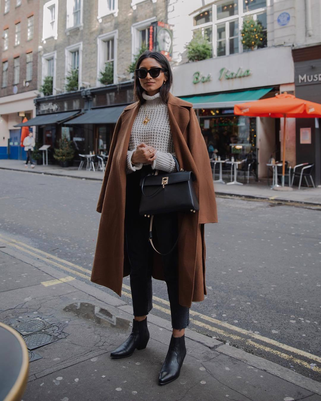 sweater turtleneck sweater black boots ankle boots cropped jeans black jeans black bag brown coat oversized coat
