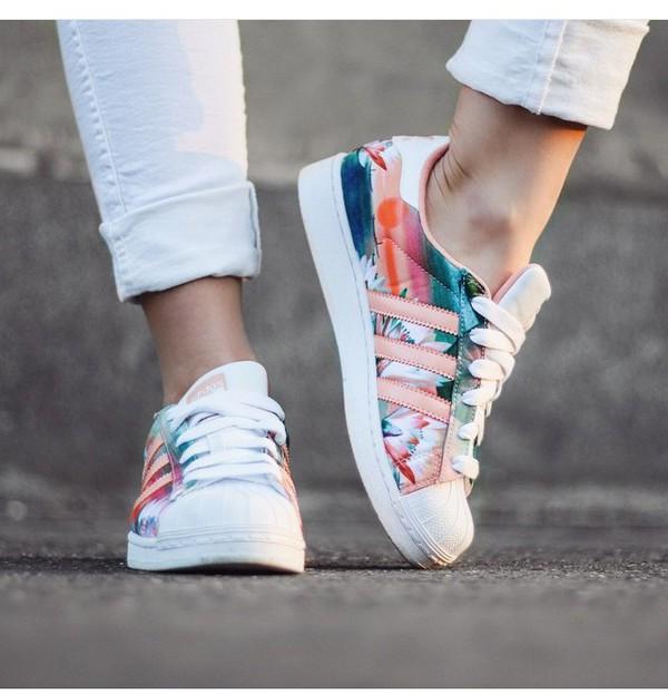 shoes, adidas, adidas originals, floral shoes, pastel sneakers ...