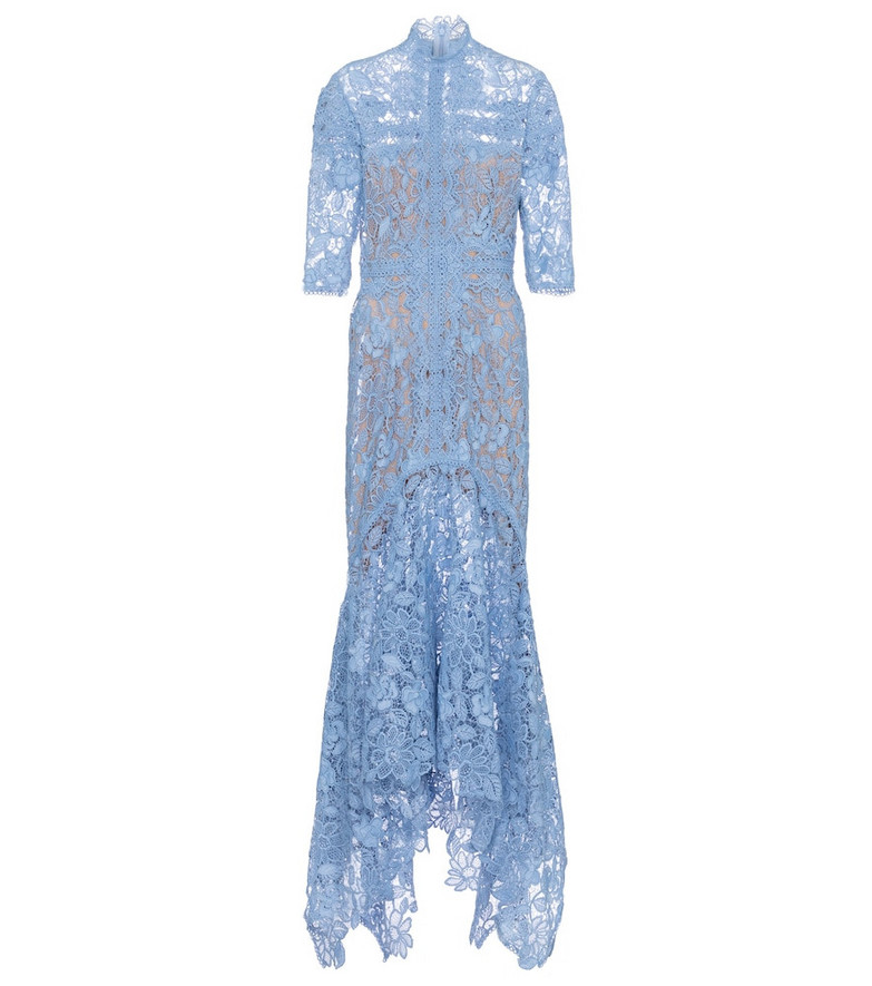 Costarellos Kalissa floral lace gown in blue