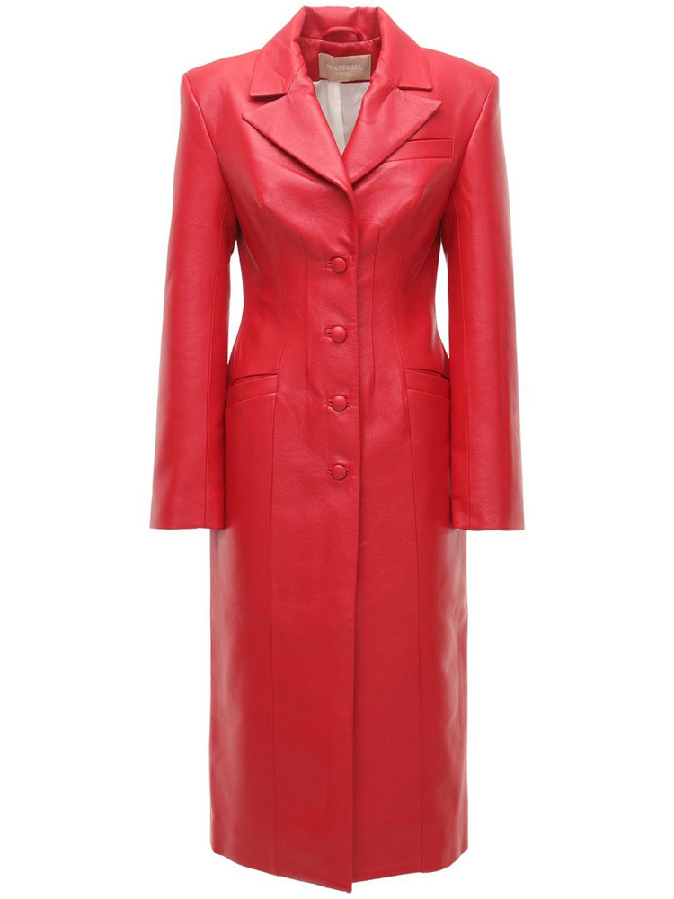 MATÉRIEL Faux Leather Trench Coat in red