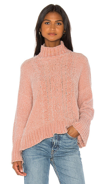 Central Park West Sasha Cable Sweater in Pink
