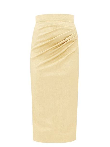 Dolce & Gabbana - Ruched Silk-blend Lamé Midi Skirt - Womens - Gold