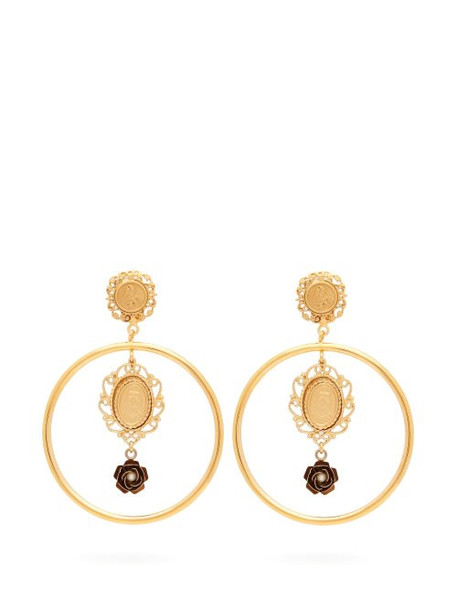 Dolce & Gabbana - Cameo Charm Hoop Clip Earrings - Womens - Gold