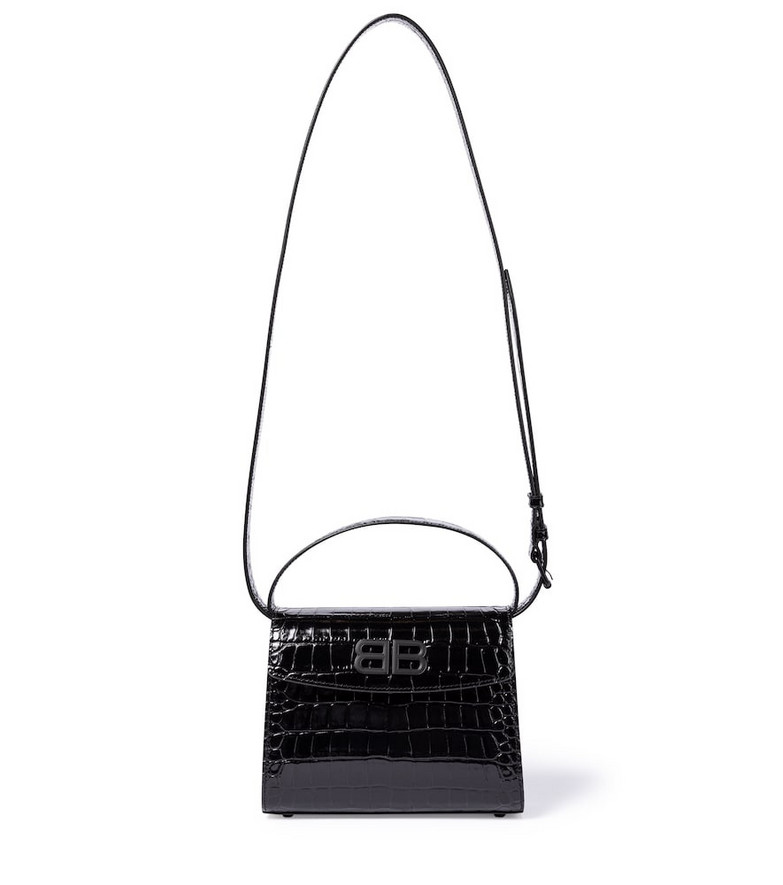 Balenciaga Ghost Small croc-effect shoulder bag in black