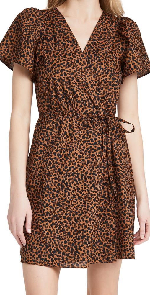 Madewell Short Sleeve Wrap Dress in leopard