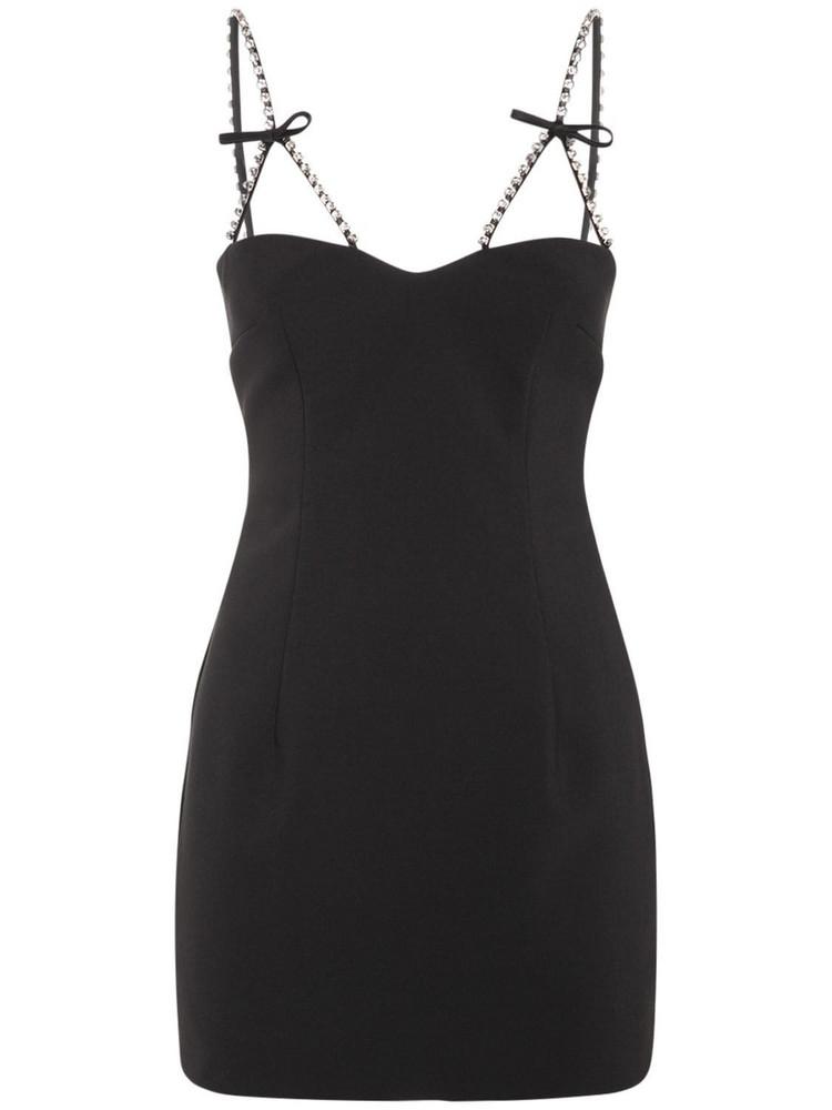 AREA Embellished Bow Strap Crepe Mini Dress in black