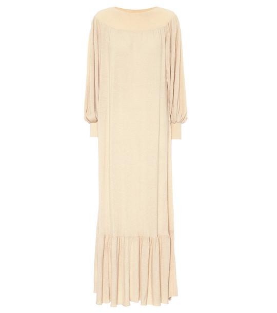 Ryan Roche Off-the-shoulder cashmere midi dress in neutrals