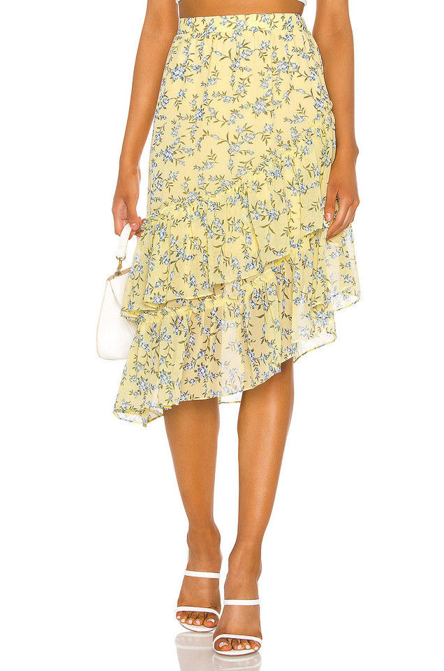 1. STATE Tiered Asymmetrical Blossom Cluster Skirt in yellow