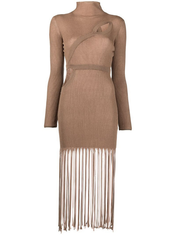 Antonella Rizza knitted fringed dress in neutrals