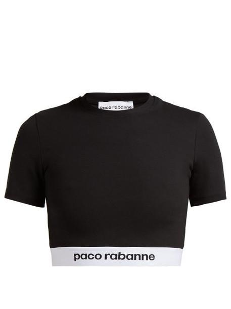 Paco Rabanne - Bodyline Logo Jacquard Crop Top - Womens - Black