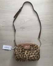bag,guess,guess handbag,leopard print,chain bag,vintage,brown,brown leather bag