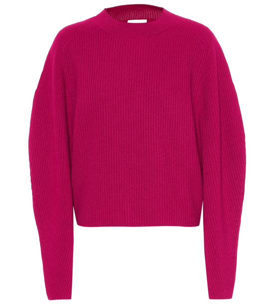 Chloé Ribbed wool and cashmere sweater in red