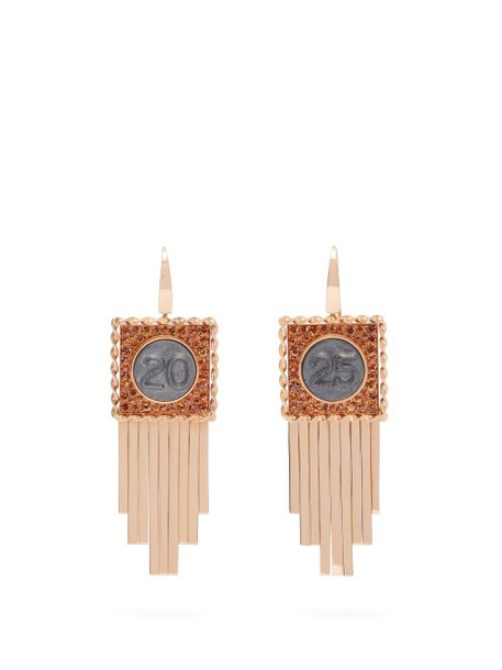 Francesca Villa - Pure Numbers Sapphire & 18kt Rose Gold Earrings - Womens - Orange