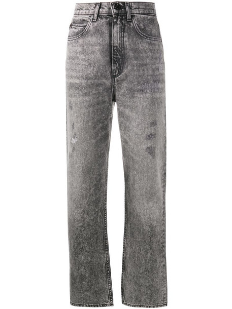 Sandro Paris high-rise cropped jeans in grey