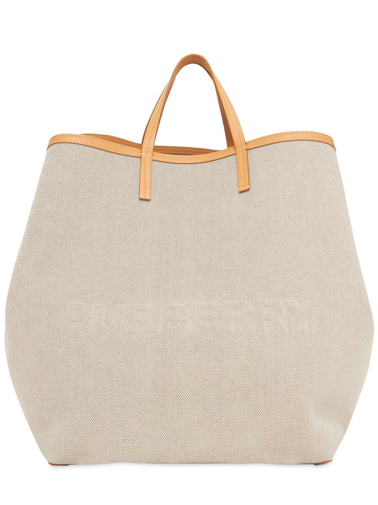 BURBERRY Xl Smooth Leather Canvas Beach Tote in sand