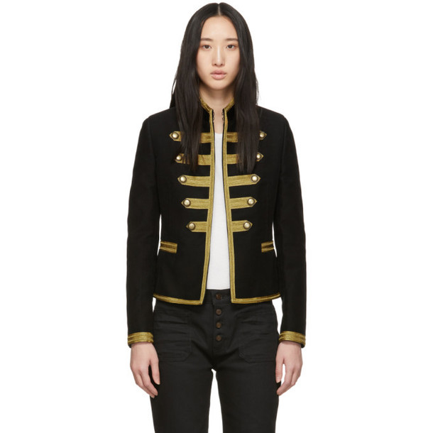 Saint Laurent Black & Gold Passementerie Officer Jacket