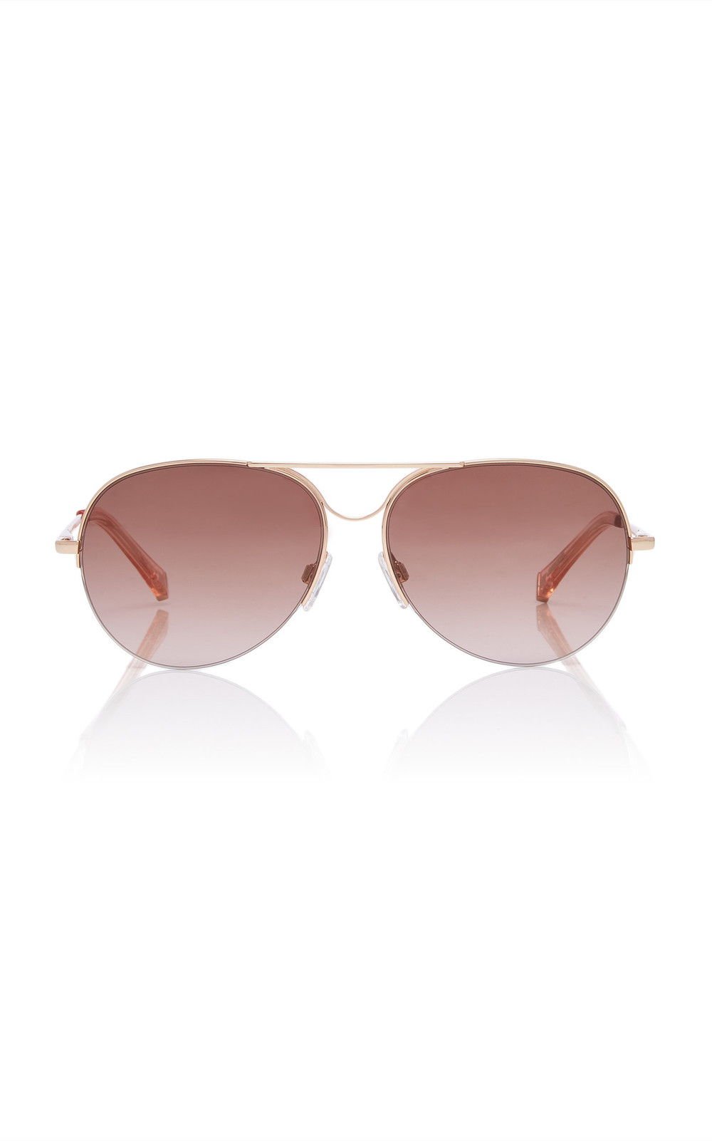Kate Young Alicia Aviator-Style Acetate And Metal Sunglasses in gold