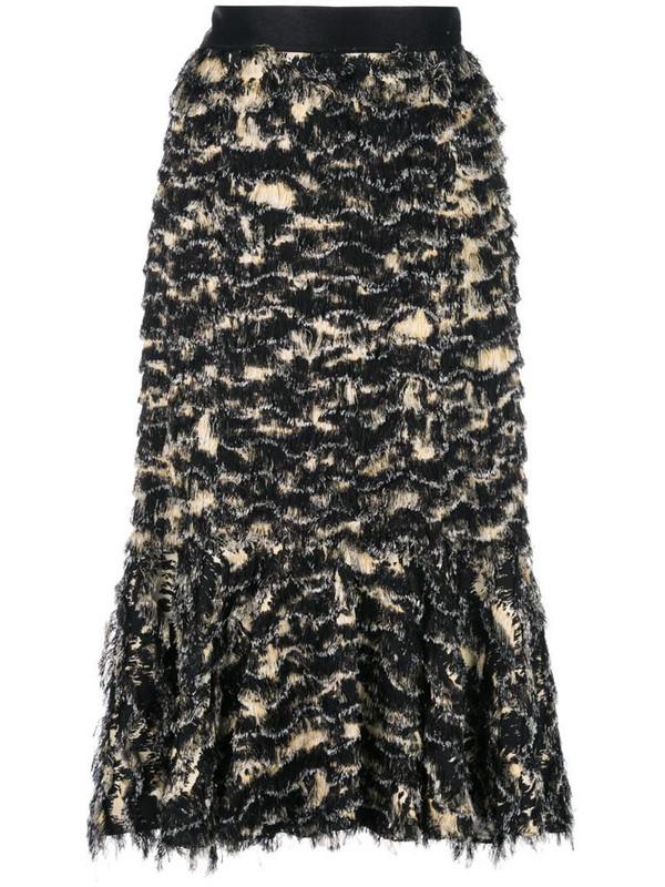 Proenza Schouler Printed Fil Coupe Long Skirt in black