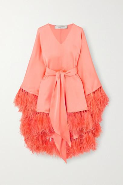 Valentino - Tie-detailed Feather-trimmed Silk-satin Tunic - Orange
