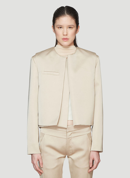 Roni Ilan Satin Cropped Extended Jacket in Beige size S