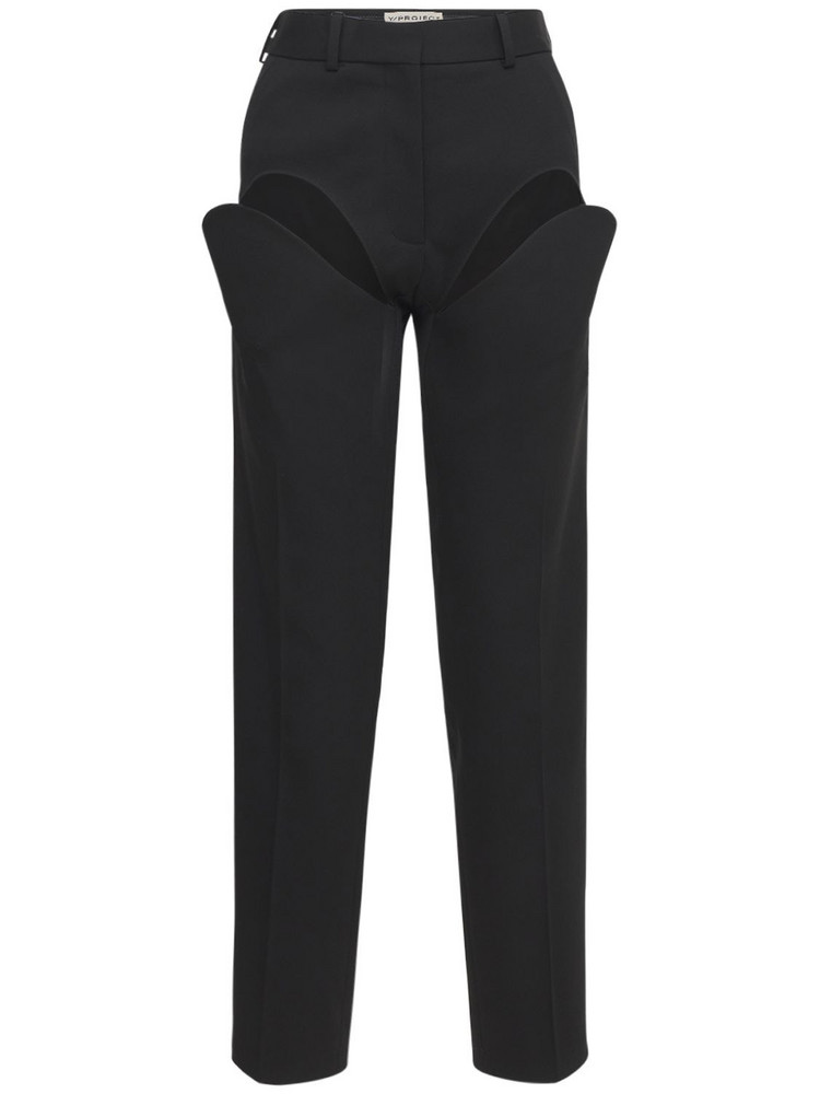 Y PROJECT Classic Front Cut Wool Pants in black