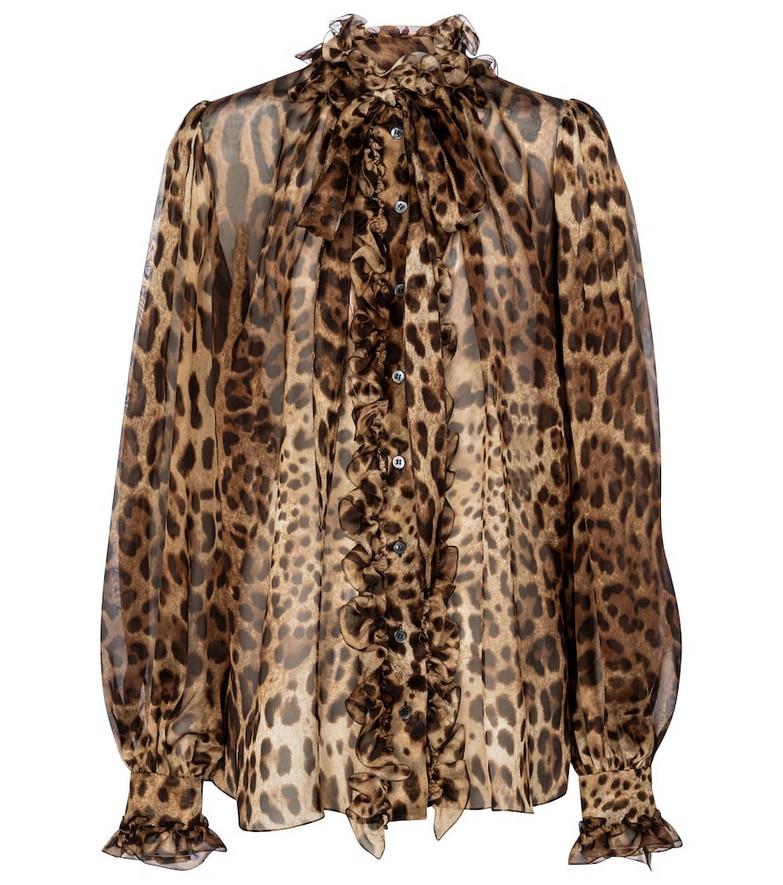Dolce & Gabbana Leopard-print silk organza blouse in brown