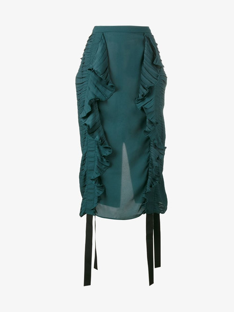 Marco De Vincenzo ruched ruffle pencil skirt in green
