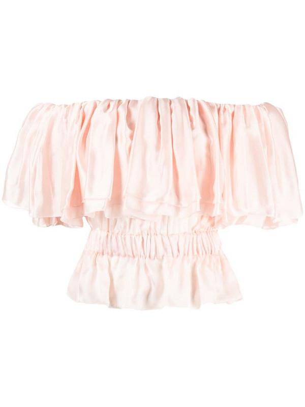 Alexandre Vauthier off-shoulder ruffled silk top in pink