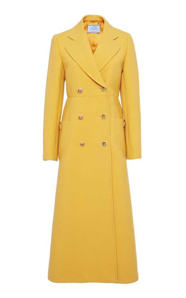 Prada Double-Breasted Wool Coat in yellow