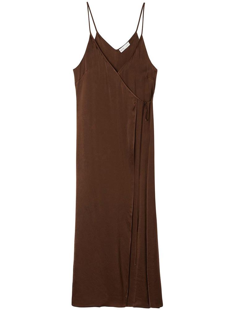 BITE STUDIO Wrap Satin Cupro Midi Dress in brown