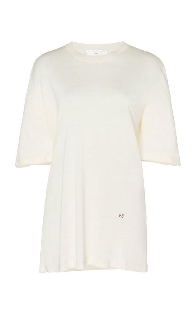 Victoria Beckham Silk Crewneck T-Shirt in white