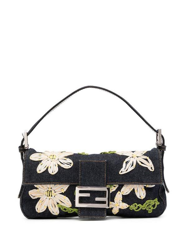 Fendi Pre-Owned flower embroidery denim Mamma Baguette shoulder bag in blue