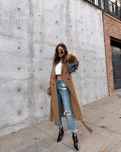 coat,long coat,knuckle ring,cropped jeans,white t-shirt,black boots,ankle boots,dior bag