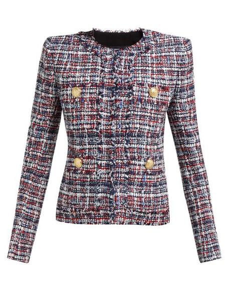 Balmain - Single Breasted Tweed Jacket - Womens - Red Multi