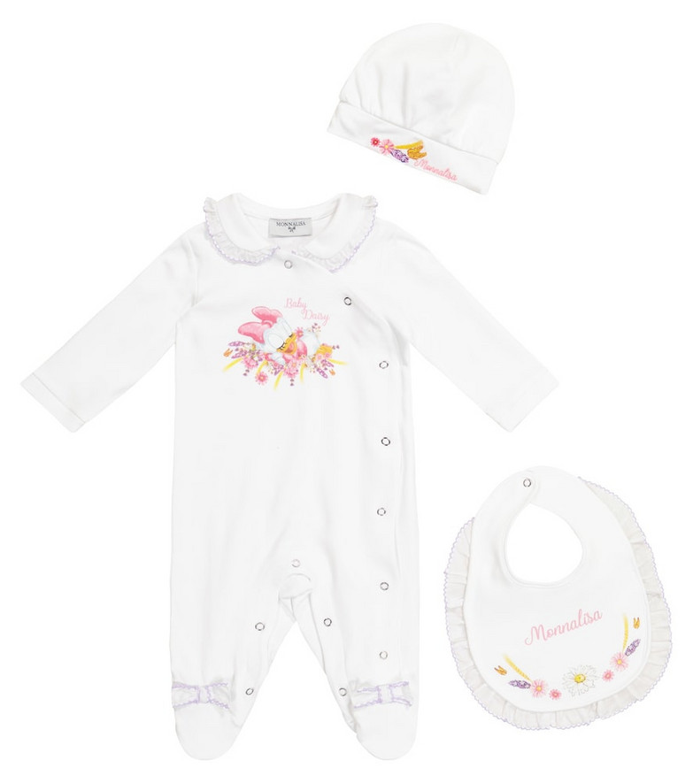 Monnalisa x Disney® Baby onesie, hat and bib set in white