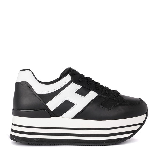 Hogan Maxi H222 Black And White Leather Sneaker