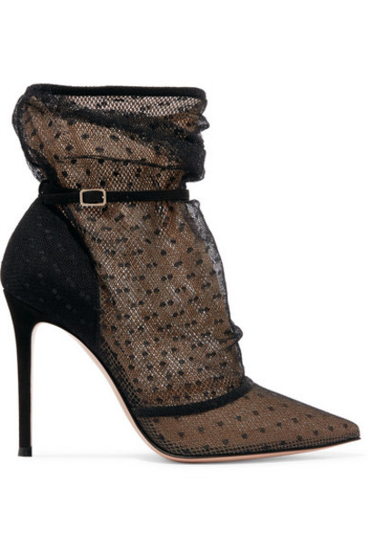 Gianvito Rossi - 105 Polka-dot Tulle And Suede Ankle Boots - Black