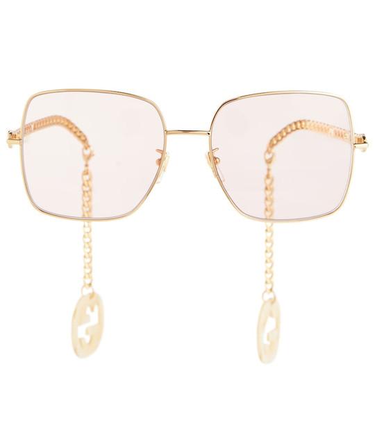Gucci Chain-trimmed square sunglasses in gold