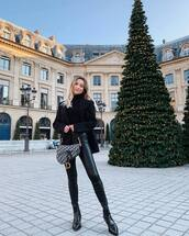 jacket,blazer,black boots,ankle boots,leather pants,dior bag,black turtleneck top
