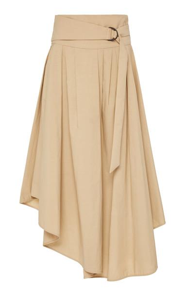Brunello Cucinelli Cotton Poplin Asymmetric Hem Wrap Skirt w/ D Ring B in neutral