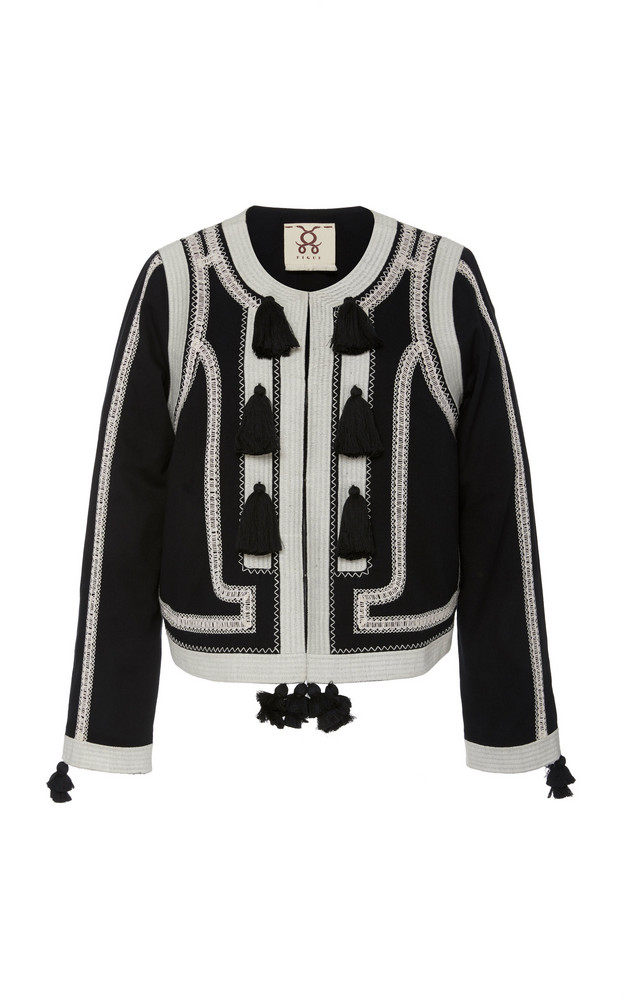 Figue Harrison Tasseled Embroidered Cotton Jacket Size: M in black