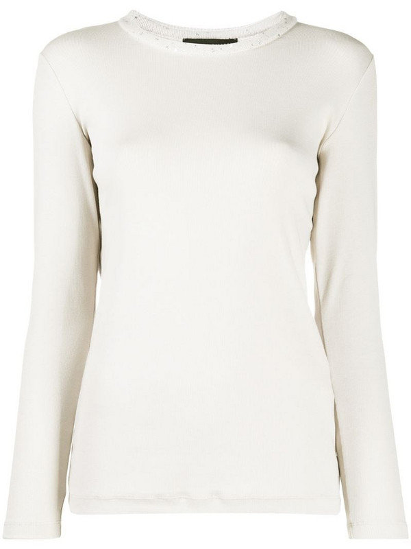 Fabiana Filippi long-sleeve fitted jumper in neutrals