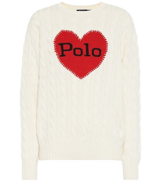 Polo Ralph Lauren Cable-knit intarsia cotton sweater in white