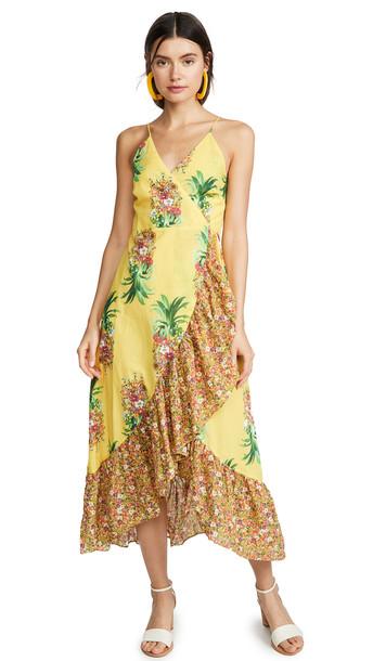 FARM Rio Golden Pineapple Print Wrap Dress
